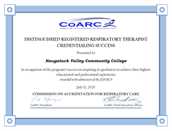 Naugatuck Valley Community College Respiratory Care Program Honored by Distinguished Award
