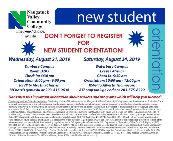 New Student Orientation - Waterbury Campus